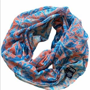 Infinity scarf red with blue & white